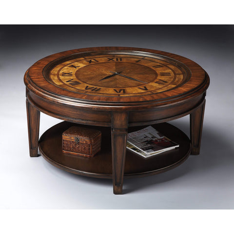 Butler Corbett Round Clock Coffee Table 6047070-Cocktail Tables-Floor Mirror Gallery