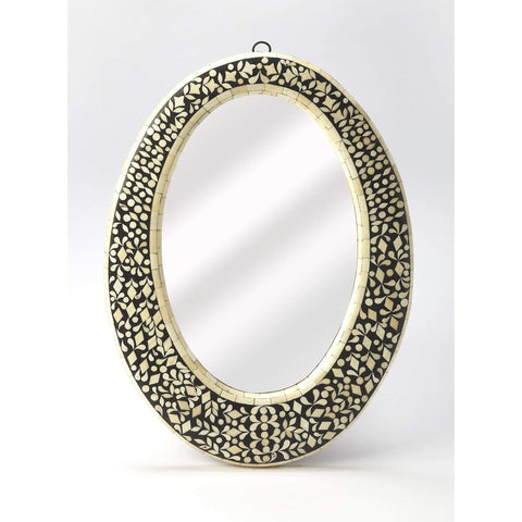 Butler Orzo Black Bone Inlay Oval Wall Mirror 6149318-Oval Mirror-Floor Mirror Gallery