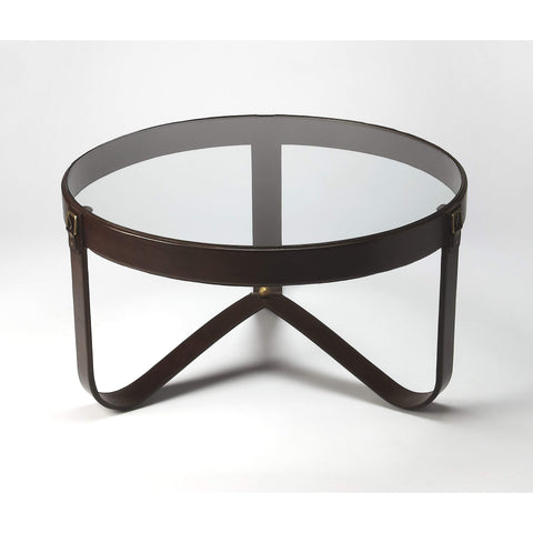 Butler Alonzo Glass & Leather Coffee Table 6158350-Cocktail Tables-Floor Mirror Gallery