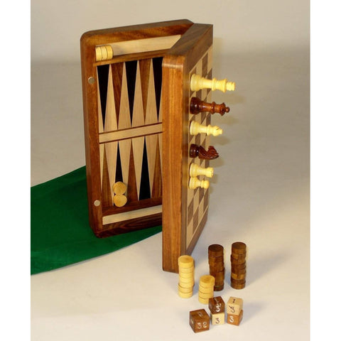 Wood Magnetic Folding Chess & Backgammon , Chopra, India, 63510, by WorldWise Imports-Back & Combo-Floor Mirror Gallery
