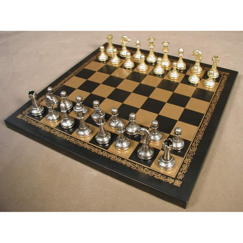 Small Staunton on Lthr Brd, Ital Fama, Italy, 65M-204GN, by WorldWise Imports-Chess Set-Floor Mirror Gallery
