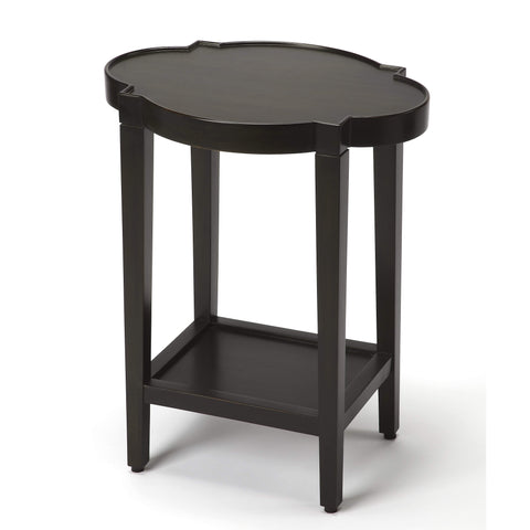 Butler Jobert Black Quatrefoil End Table 6805111-ACCENT TABLE-Floor Mirror Gallery