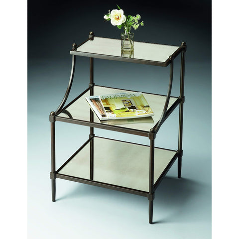 Butler Peninsula Mirrored Tiered Side Table 7015025-Accent Table-Floor Mirror Gallery