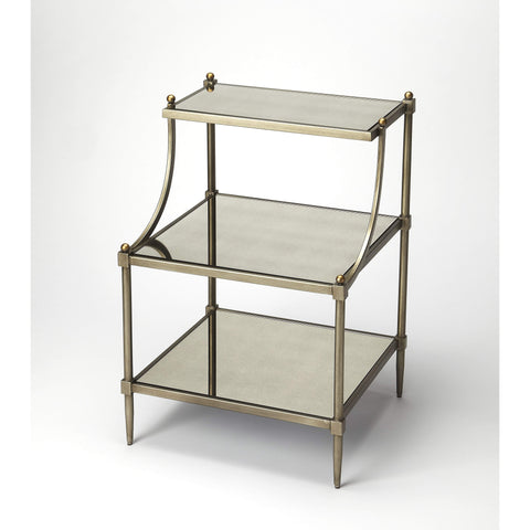 Butler Peninsula Metal & Glass Tiered Side Table 7015030-Accent Table-Floor Mirror Gallery