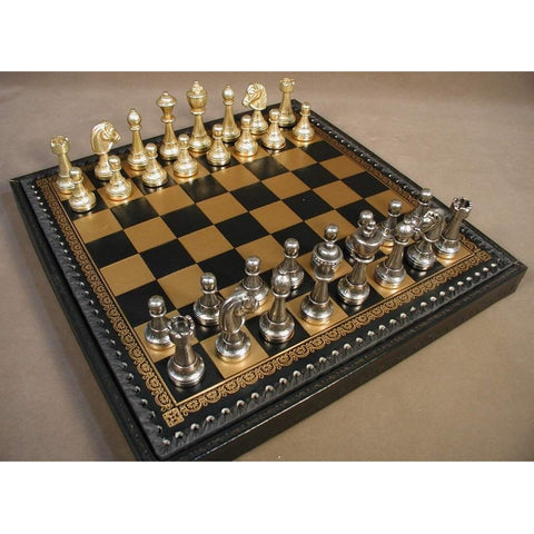 Staunton Metal on Lthr Chest, Ital Fama, Italy, 70M-219GN, by WorldWise Imports-Chess Set-Floor Mirror Gallery