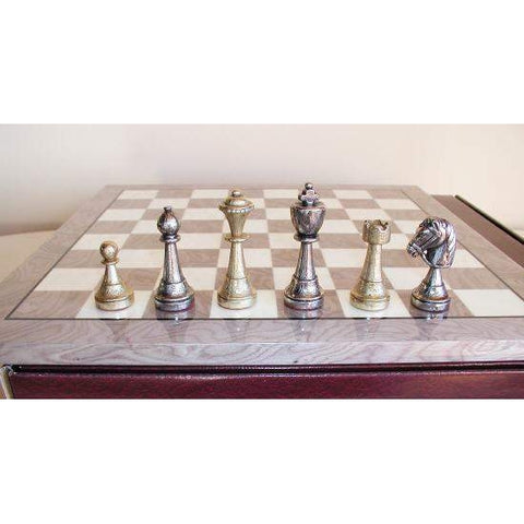 Staunton Metal on Grey wood Brd, Ital Fama, Italy-Spain, 70M-GY, by WorldWise Imports-Chess Set-Floor Mirror Gallery