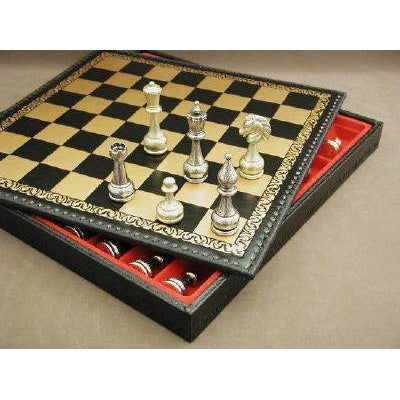 Lg Metal Staunton on Lthr Chest, Ital Fama, Italy, 82M-221GN, by WorldWise Imports-Chess Set-Floor Mirror Gallery