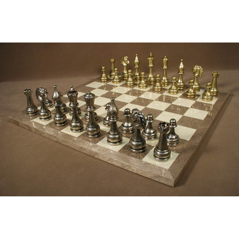 Lg Metal Staunton on Grey Briar Brd, Ital Fama, Italy-Spain, 82M-GY, by WorldWise Imports-Chess Set-Floor Mirror Gallery