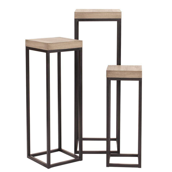 Howard Elliott Wood & Metal Pedestals - Set of 3 43H x 14W x 14D - 83035-Accent Table-Floor Mirror Gallery