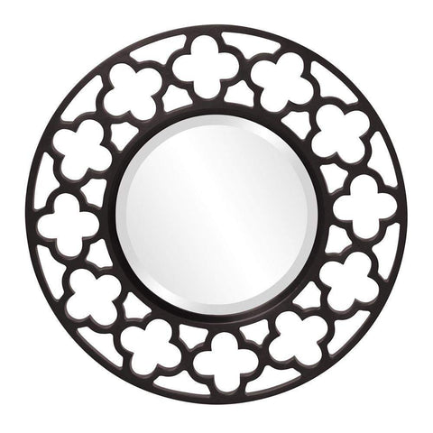Howard Elliott Gaelic Black Mirror 20H x 20W x 1D - 92007BL-Wall Mirror-Floor Mirror Gallery