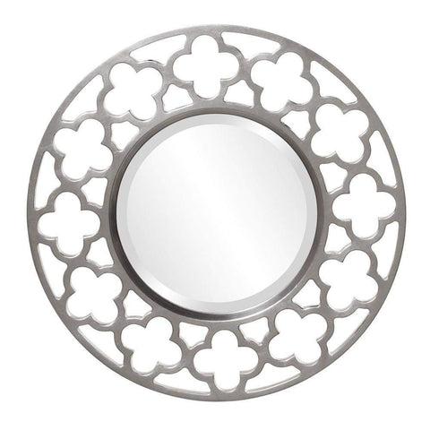 Howard Elliott Gaelic Round Glossy Nickel Mirror 20H x 20W x 1D - 92007N-Wall Mirror-Floor Mirror Gallery