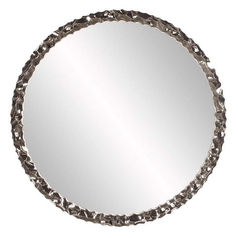 Howard Elliott Memphis Round Nickel Mirror 36H x 36W x 2D - 92109-Wall Mirror-Floor Mirror Gallery