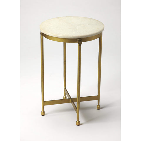 Butler Claypool White Marble End Table 9351025-ACCENT TABLE-Floor Mirror Gallery