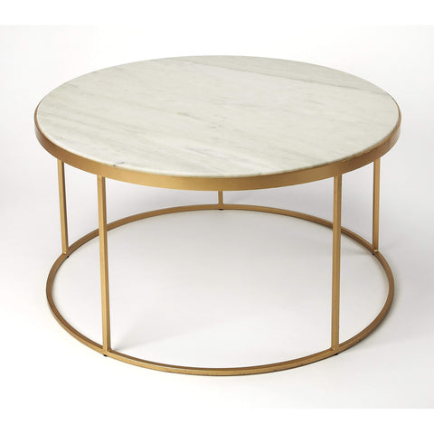 Butler Triton White Marble Coffee Table 9392389-Cocktail Tables-Floor Mirror Gallery
