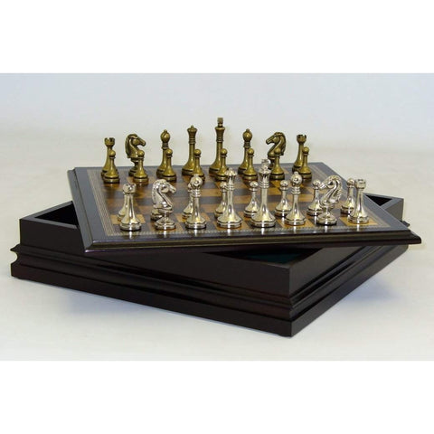 Metal staunton in Wood Chest, John Hansen Co., China, 95985, by WorldWise Imports-Chess Set-Floor Mirror Gallery
