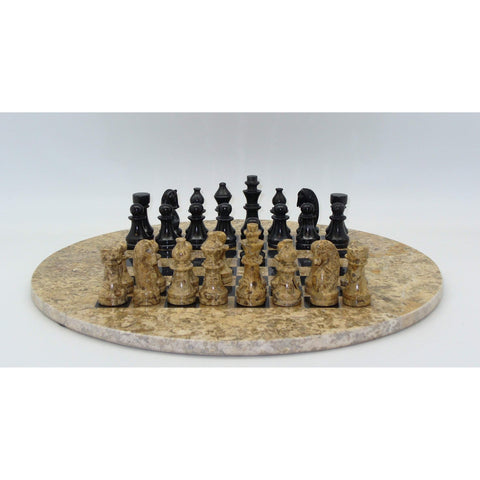 Round Marble Chess Set, WW Chess, Pakistan, 96110CB, by WorldWise Imports-Chess Set-Floor Mirror Gallery