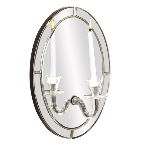Howard Elliott Opal Oval Mirror w/ Candle Holder 16H x 12W x 7D ...