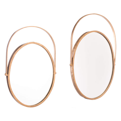 Zuo Modern Set Of 2 Oval Mirrors Gold A10707