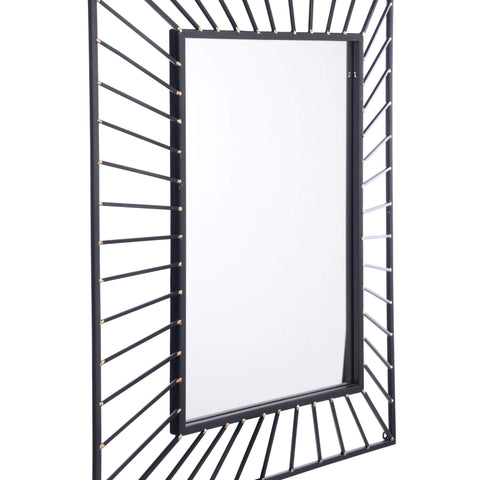 Zuo Modern Sunburst Rectangular Mirror Black Black A10820-Wall Mirror-Floor Mirror Gallery