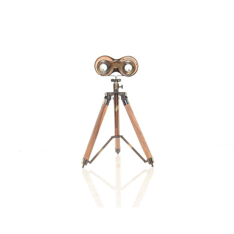 Wood/Brass Binocular On Stand Model AK018 by Old Modern Handicrafts-Models-Floor Mirror Gallery