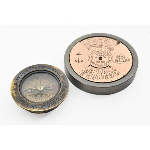 100 Year Calendar & Compass Quote Set of 2 Model AK034 by Old Modern Handicrafts-Models-Floor Mirror Gallery