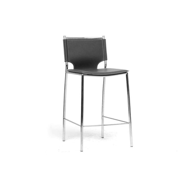 Baxton Studio Montclare Modern and Contemporary Black Bonded Leather Upholstered Modern Counter Stool - ALC-1083A-65 Black-Bar Stools-Floor Mirror Gallery