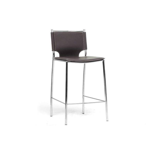 Baxton Studio Montclare Modern and Contemporary Brown Bonded Leather Upholstered Modern Counter Stool - ALC-1083A-65 Brown-Bar Stools-Floor Mirror Gallery