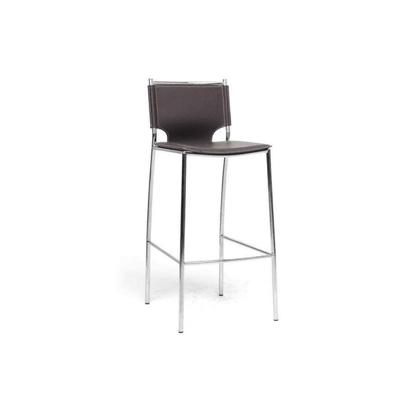 Baxton Studio Montclare Modern and Contemporary Brown Bonded Leather Upholstered Modern Bar Stool - ALC-1083A-75 Brown-Bar Stools-Floor Mirror Gallery