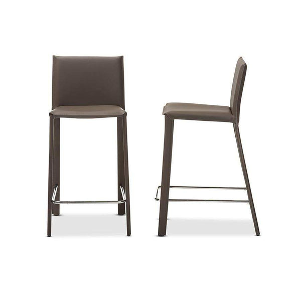 Baxton Studio Crawford Modern and Contemporary Taupe Leather Upholstered Counter Height Stool - ALC-1822A-65-Taupe-Bar Stools-Floor Mirror Gallery