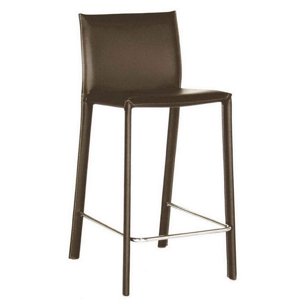 Baxton Studio Crawford Brown Leather Bar Stool - ALC-1822A-75 Brown-Bar Stools-Floor Mirror Gallery
