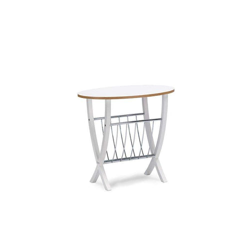 Baxton Studio Portici White Side Table with Wire Magazine Holder - Aking-58894-1-Coffee, Accent Tables-Floor Mirror Gallery