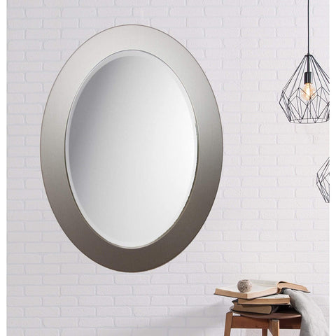 "Brandt Works Brushed Aluminum Oval Mirror BAOVAL1 25.25""x34""-Oval Mirror-Floor Mirror Gallery"