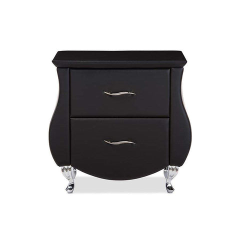 Baxton Studio Erin Modern and Contemporary Black Faux Leather Upholstered Nightstand - BBT3116-Black-NS-Nightstands-Floor Mirror Gallery