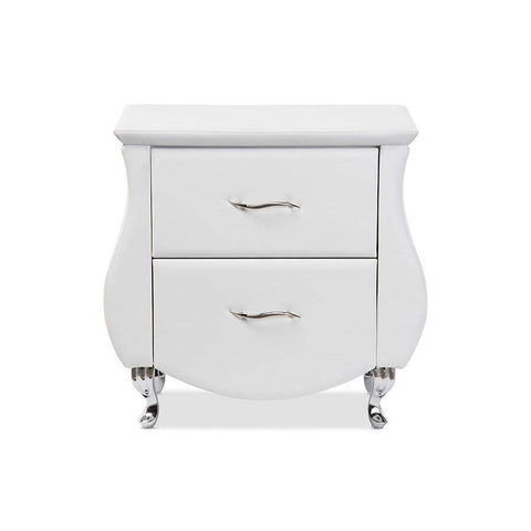 Baxton Studio Erin Modern and Contemporary White Faux Leather Upholstered Nightstand - BBT3116-White-NS-Nightstands-Floor Mirror Gallery