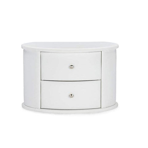 Baxton Studio Ritchie White Faux Leather Oval Upholstered Modern Nightstand - BBT3067-White-NS-Nightstands-Floor Mirror Gallery