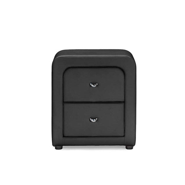 Baxton Studio Bourbon Black Faux Leather Upholstered Modern Nightstand - BBT3074-Black-NS-Nightstands-Floor Mirror Gallery
