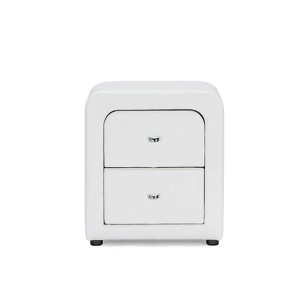 Baxton Studio Bourbon White Faux Leather Upholstered Modern Nightstand - BBT3074-White-NS-Nightstands-Floor Mirror Gallery