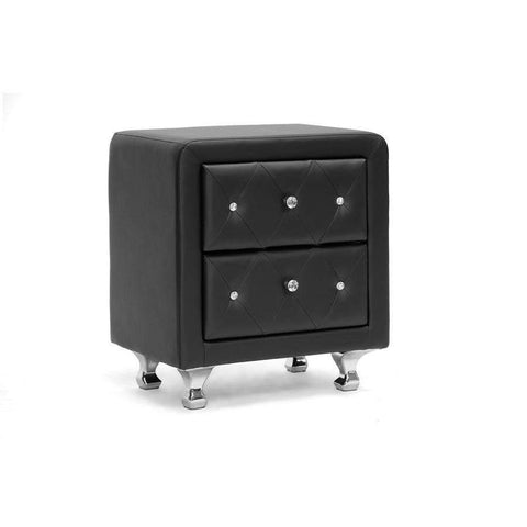Baxton Studio Stella Crystal Tufted Black Upholstered Modern Nightstand - BBT3084-Black-NS-Nightstands-Floor Mirror Gallery