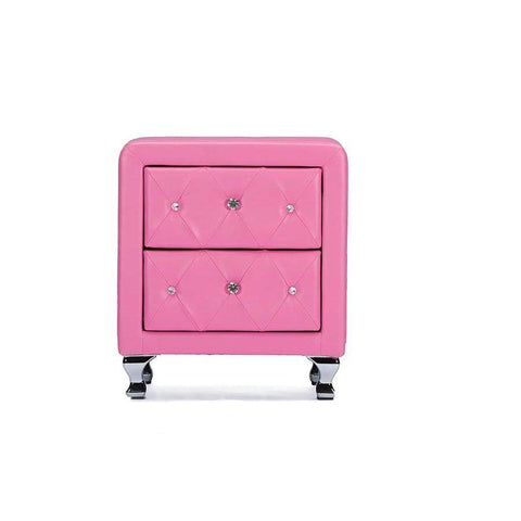 Baxton Studio Stella Crystal Tufted Pink Leather Modern Nightstand - BBT3084-Pink-NS-Nightstands-Floor Mirror Gallery