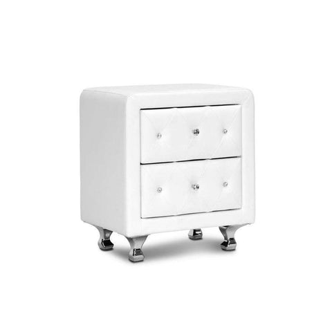 Baxton Studio Stella Crystal Tufted White Upholstered Modern Nightstand - BBT3084-White-NS-Nightstands-Floor Mirror Gallery