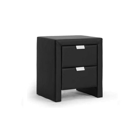 Baxton Studio Frey Black Upholstered Modern Nightstand - BBT3089-Black-NS-Nightstands-Floor Mirror Gallery