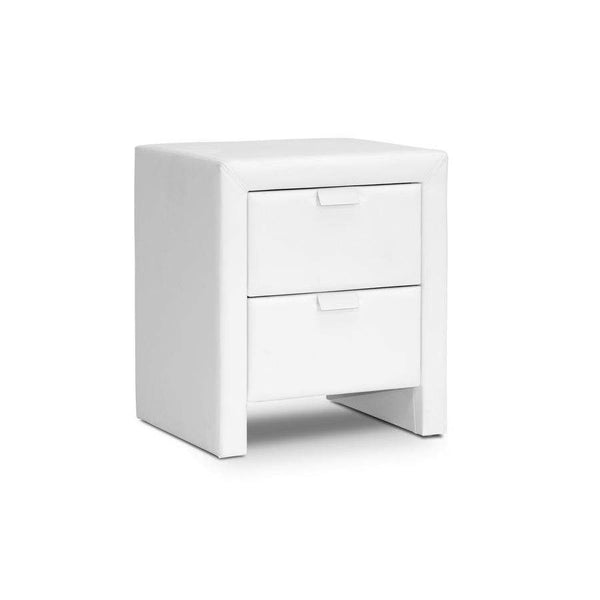 Baxton Studio Frey White Upholstered Modern Nightstand - BBT3089-White-NS-Nightstands-Floor Mirror Gallery