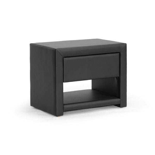 Baxton Studio Massey Black Upholstered Modern Nightstand - BBT3092-Black-NS-Nightstands-Floor Mirror Gallery