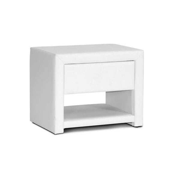 Baxton Studio Massey White Upholstered Modern Nightstand - BBT3092-White-NS-Nightstands-Floor Mirror Gallery