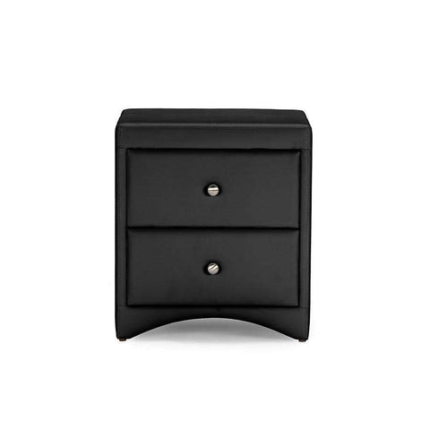 Baxton Studio Dorian Black Faux Leather Upholstered Modern Nightstand - BBT3106-Black-NS-Nightstands-Floor Mirror Gallery