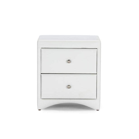 Baxton Studio Dorian White Faux Leather Upholstered Modern Nightstand - BBT3106-White-NS-Nightstands-Floor Mirror Gallery