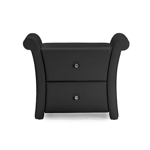Baxton Studio Victoria Matte Black PU Leather 2 Storage Drawers Nightstand Bedside Table - BBT3111A1-Black-NS-Nightstands-Floor Mirror Gallery
