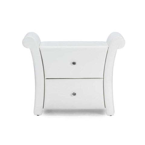Baxton Studio Victoria Matte White PU Leather 2 Storage Drawers Nightstand Bedside Table - BBT3111A1-White-NS-Nightstands-Floor Mirror Gallery