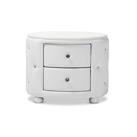 Baxton Studio Davina Hollywood Glamour Style Oval 2-drawer White Faux Leather Upholstered Nightstand - BBT3119-White NS-Nightstands-Floor Mirror Gallery