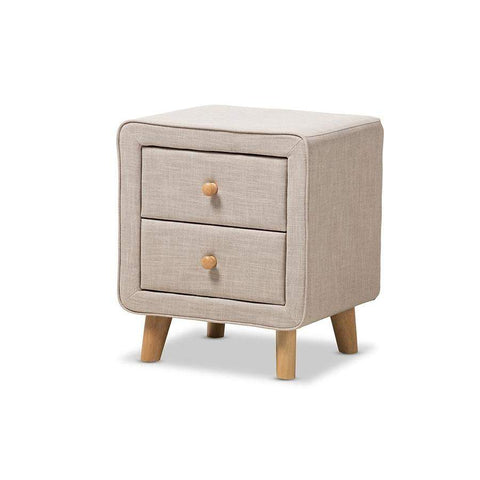 Baxton Studio Jonesy Mid-Century Beige Linen Upholstered 2-Drawer Nightstand - BBT3140-Beige-NS-XD02-Nightstands-Floor Mirror Gallery